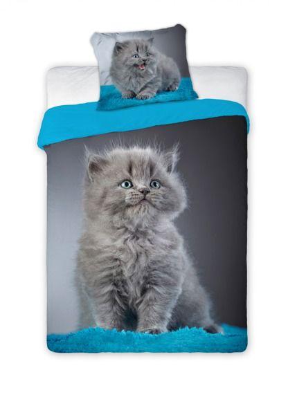 Modro sivé detské posteľné obliečky s motívom mačky
