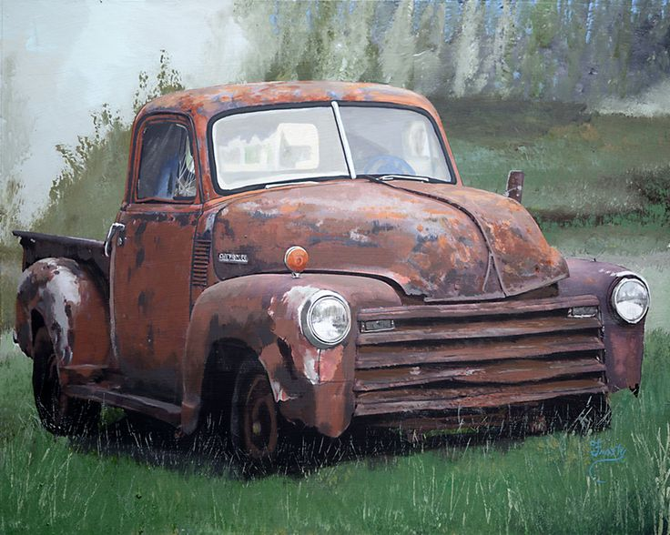 """Here's the finished painting of The """"Chevy Rust Bucket"""", a 16"""" x 20"""" Acrylic. This old pick-up truck is in North Middletown, in front of Bill Bradford's old shop! This one will go in the Rust Bucket Series. Duh!"""