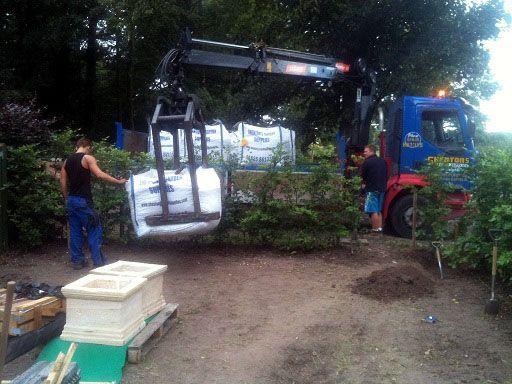 Landscaping materials begin to arrive on site www.ebgardendesign.co.uk