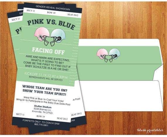 Gender Reveal Invitation - Baby Shower  - Gender Reveal Party - Football Ticket - The ORIGINAL Copyright 2010 on Etsy, $15.00