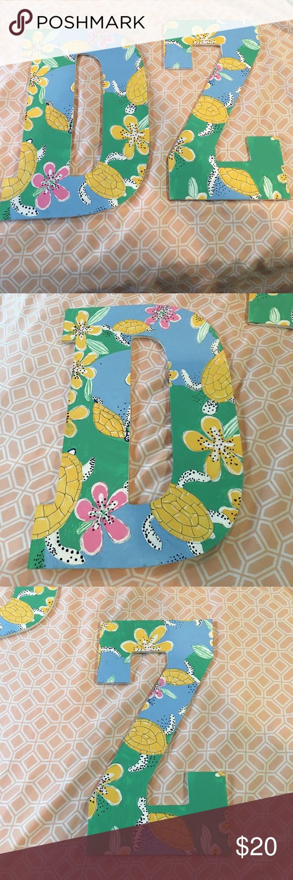 Hand painted Delta Zeta (DZ) large wooden letters Hand painted turtle/beach design in colors of blue, green, yellow, white, and pink. Other