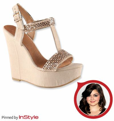 "Ariel Winter — ""Aldo has really great shoes. I have a gold, beaded wedge with a T-strap that I love."""