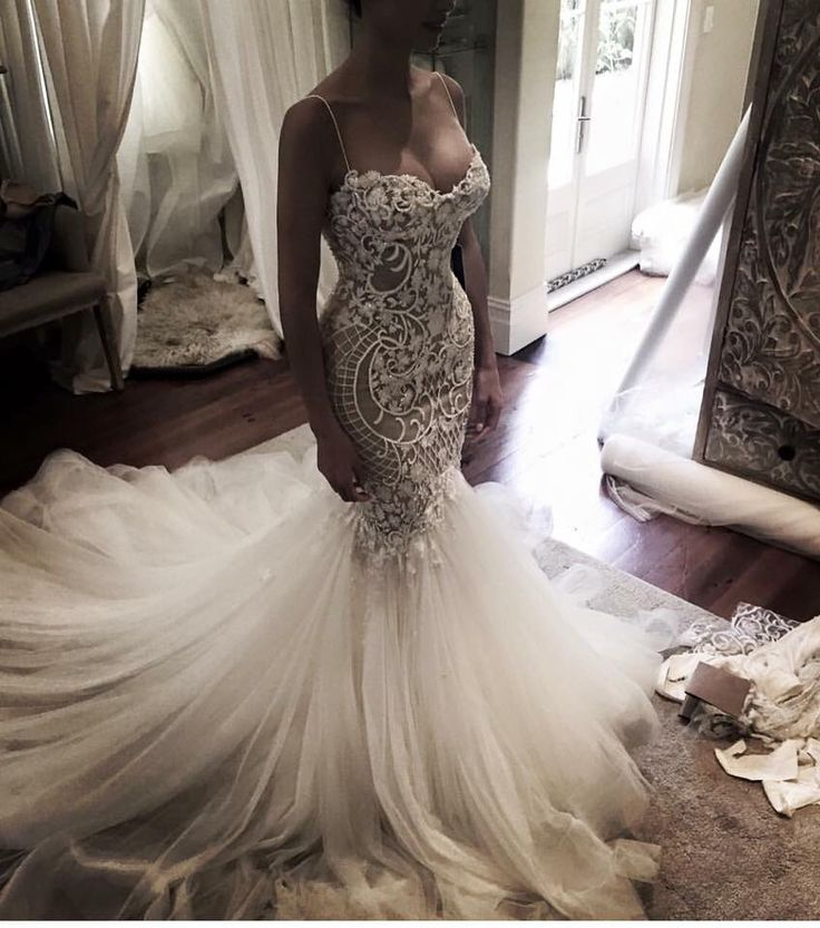 Beautiful lace wedding dress with semi wide train