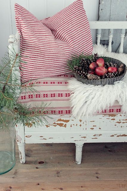 thin red stripes on a big soft pillow - so Scandinavian