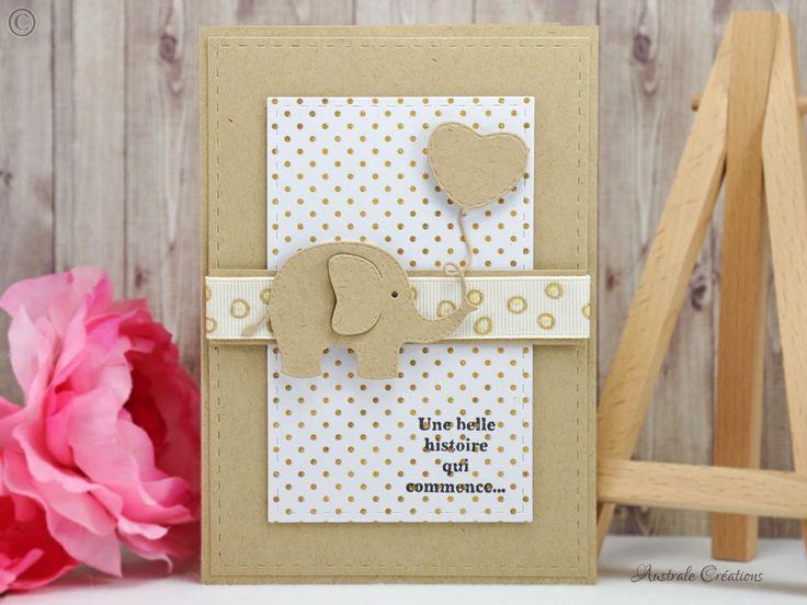 Une Belle Histoire : Carte de naissance ballon et éléphant / Baby shower card