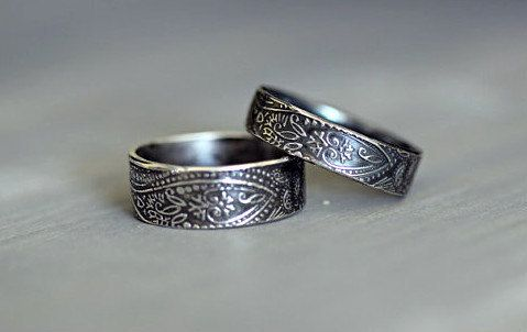 Bohemian style wedding rings.   Handmade, hand textured His and Hers rings.   Sterling Silver by Mossy Creek Studio.