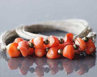 Ropa collar collar de Coral lino y Coral collar naranja delicado collar Natutal lino naranja coral regalo para ella