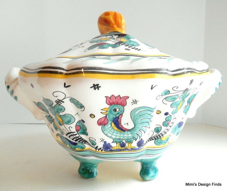 Vintage Maioliche il Bargello Footed Covered Tureen Bowl 2 Qt Florence Italy EUC #MaiolicheilBargello #Mediterranean