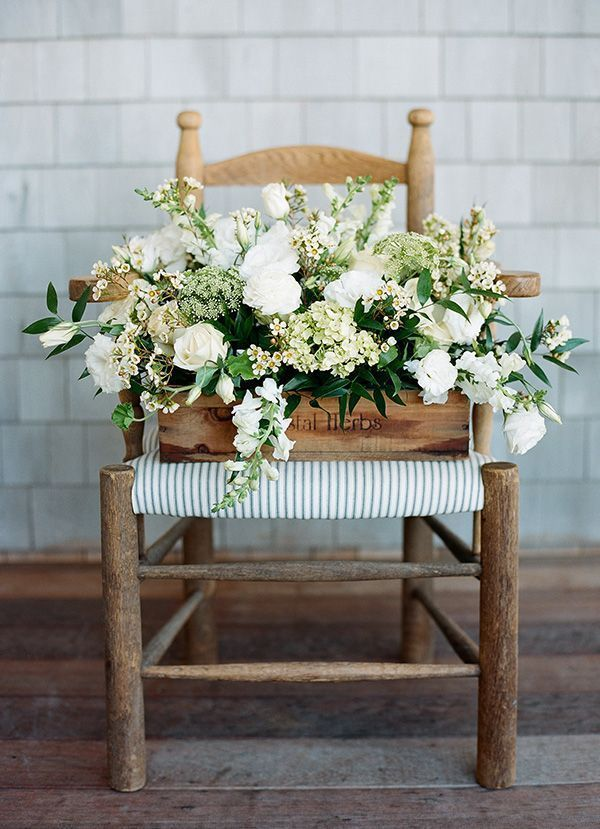 White and Green Country Centerpiece | Clayton Austin Photography | http://heyweddinglady.com/modern-preppy-wedding-black-gold-emerald-mixed-prints/