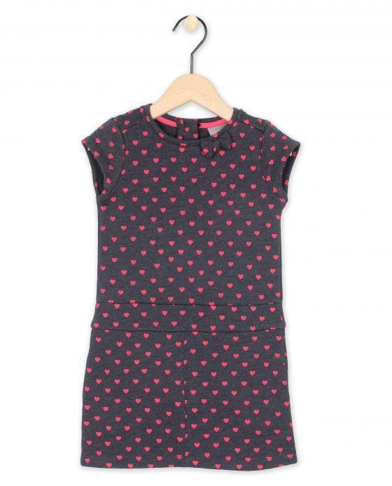 Grijs kleedje met hartjesprint