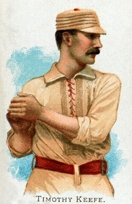 New York Giants vintage baseball card of Timothy Keefe. Love the lace-up shirt that looks like baseball stitching.