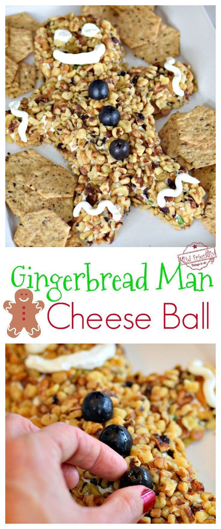 Fun and Easy Gingerbread Christmas Cheese Ball Recipe and Tutorial - Simple to make. Perfect holiday cheese ball with green onions and ham for your holiday parties! www.kidfriendlythingstodo.com