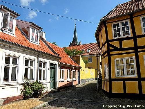 Old houses in Rudkøbing on Langeland Island in Denmark.