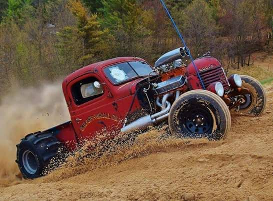 Way cool rat rod Dodge pickup hill climber!