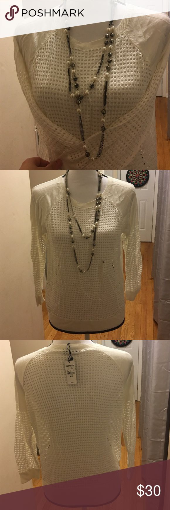 Fish net like long sleeve top White fish net like top. Long sleeves. Very cute and nice quality top. NWT Express Tops