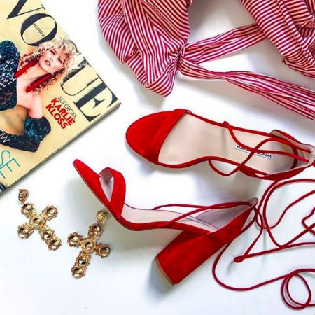 Red windsor smith wrap tie lace up shoes  heels