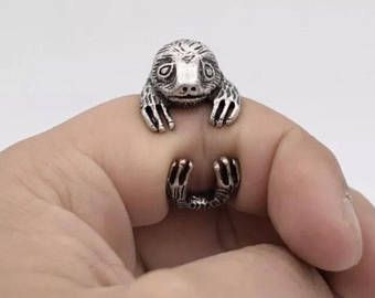Sloth zoo silver Adjustable Ring birthday Gift for Her Girlfriend Kitsch friend emo gothic disney Christmas stocking filler