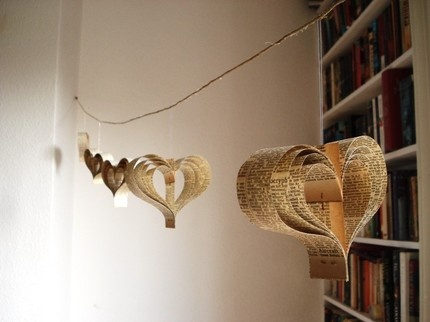 Sweet Simplicity: Paper garland of hearts-recycled encyclopedia