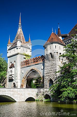 Vajdahunyad Castle, City Park of Budapest, is designed in different styles: Romanesque, Gothic, Renaissance and Baroque