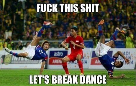 Soccer + dance meme, lol