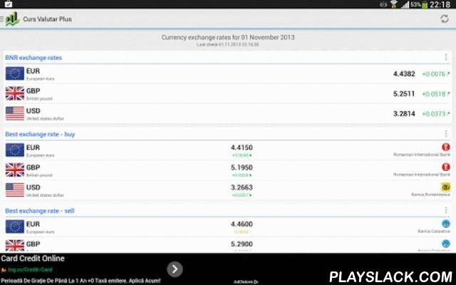 Curs Valutar Plus  Android App - playslack.com , The ideal choice for the ones who want to have real-time access to currency exchange rates of the National Bank of Romania (BNR) and all the other Romanian banks.FEATURES- modern interface;- real-time display of the currency exchange rates;- branch locator;- show the best buy/sell exchange rates;- blazing fast currency converter;- it allows you to customise the list of currencies shown on the main screen;- it features the currency exchange…