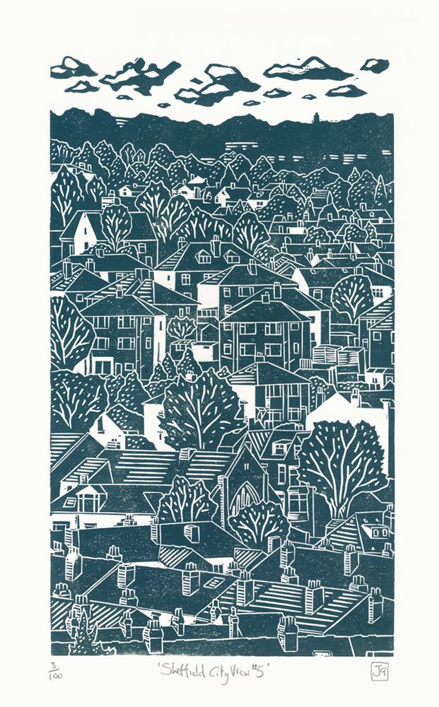 James Green: Sheffield City View No.5 linocut This is a hand-pressed linocut…