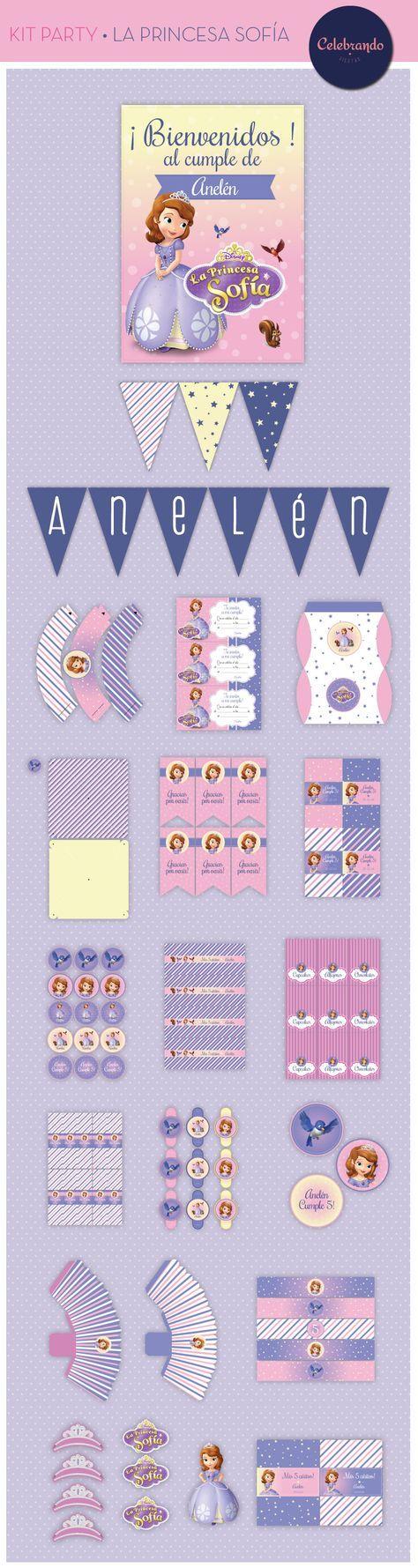 Kit imprimible Princesa Sofía - Kit Party Sofía the First. Celebrando Fiestas