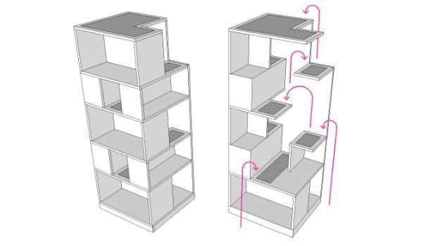 CatCase   Handmade Unique Modern Cat Tree and Bookcase Cat Furniture   UrbanCatDesign