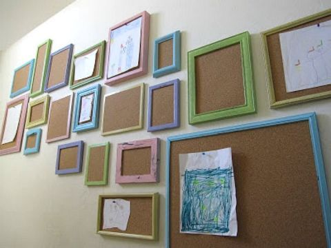 Instead of lining your walls with framed family pictures, why not display your kids' artwork? By painting different sized picture frames an array of colors and replacing the back with cork, it adds a gorgeous, rustic pop to your stairway. Your kids will love pinning up their latest masterpieces after school! Get the tutorial at Shannon Makes Stuff.