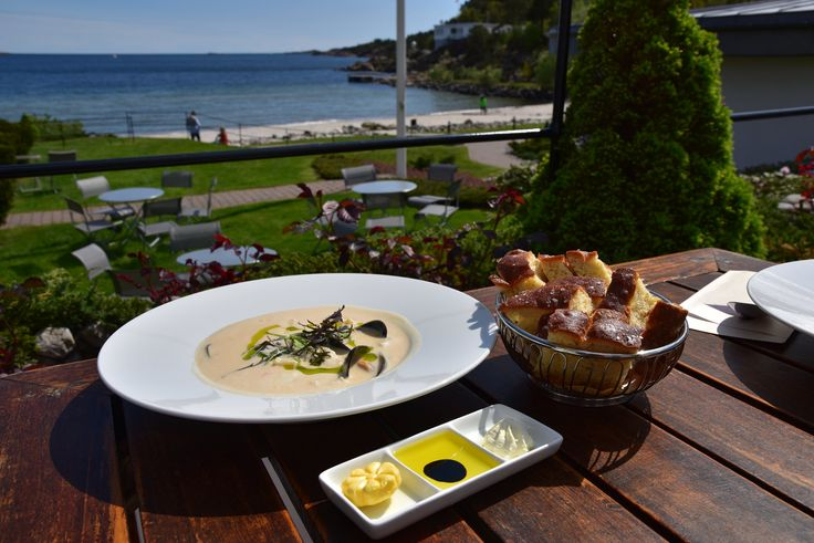 Fish soup with foccacia served with a beautiful view at Strand Hotel Fevik, in Southern Norway.  Photo: E. Høibo©Visit Southern Norway