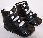 child's 1860s button shoes | Victorian Black Leather High Button Strap Baby Shoes.