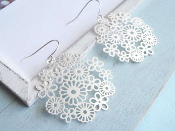 Large Statement Earrings  Silver Lace by linkeldesigns on Etsy, $15.00