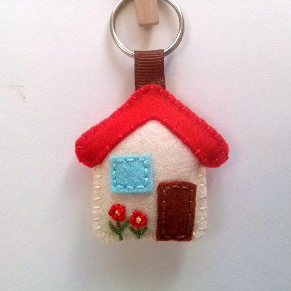 House keychain - small wool felt house  from DusiFeltShop by DaWanda.com