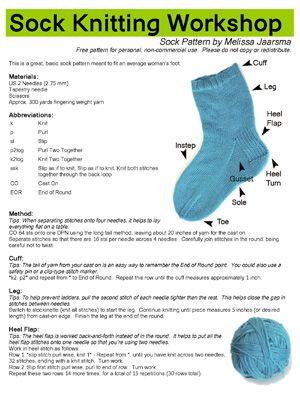 Sock Knitting Workshop - The Pattern