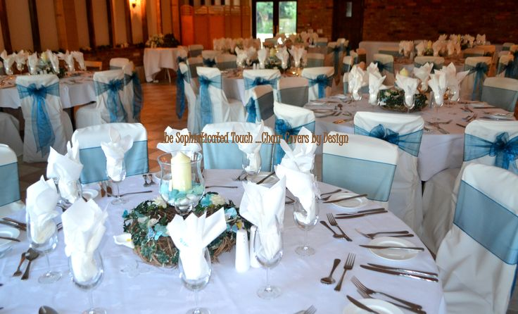 Teal Organza on White Chair Covers  The Sophisticated Touch ...Chair Covers by Design