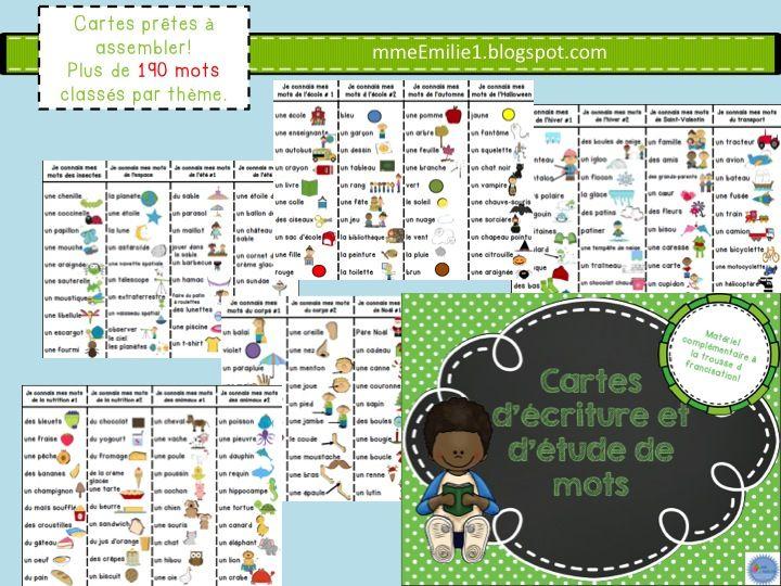 Ces cartes sont parfaites pour ajouter à votre centre d'étude de mots ou votre centre d'écriture. 190 mots classés par thèmes (mêmes mots que la trousse de francisation).