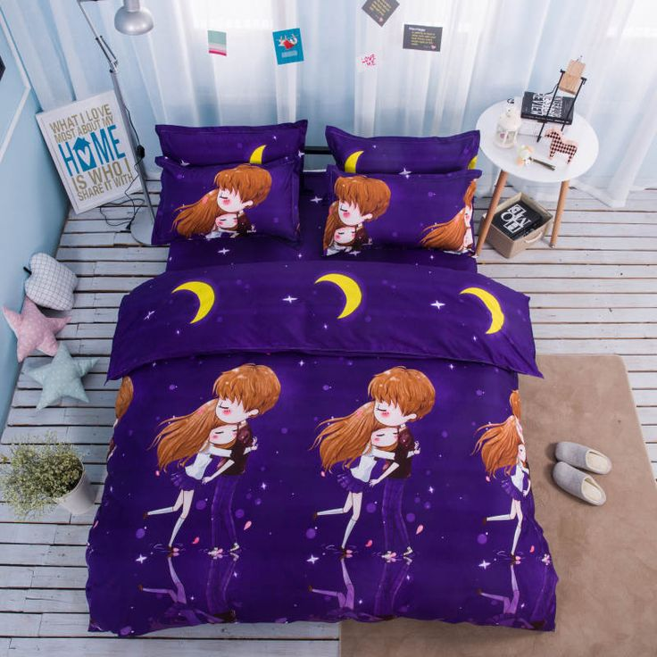 ==> [Free Shipping] Buy Best Romantic Purple 3D Bedding Sets Single/Twin/Full/Queen Sizes Duvet Cover Girls Lovely Decor 4/5pc Cotton Moon Bedspreads 400TC Online with LOWEST Price | 32814954379