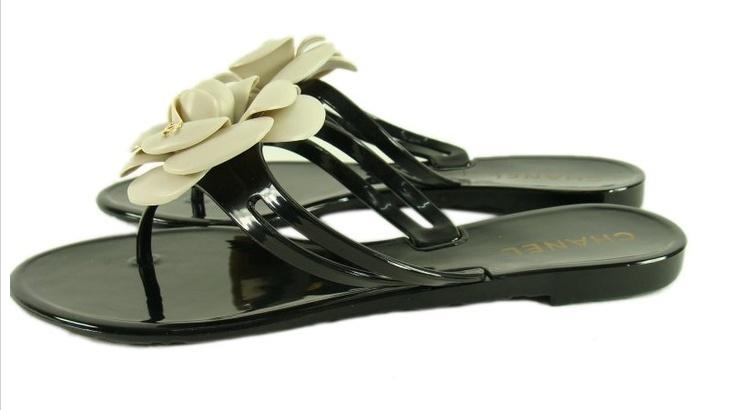 Sandali Chanel Fiore Stile Comodo Nero bianco scarpe