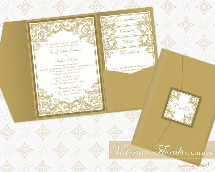 DIY Printable Wedding Pocket Invitation Template   Printable Pocket Invitation (classic)   Victorian Florals in Golden by WeddingsbyJanieV on Etsy https://www.etsy.com/listing/199256912/diy-printable-wedding-pocket-invitation