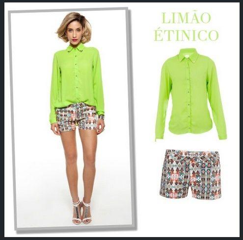 camisa mullet verde limão e short alfaiataria étnico