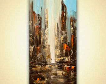 City Abstract Painting original Downtown Modern Palette knife texture art Signed by Osnat ready to hang