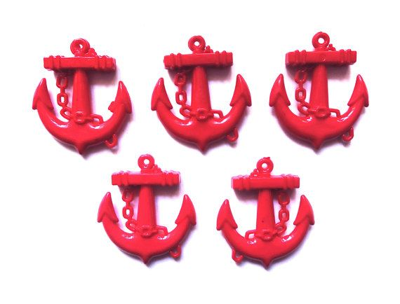 5  Red Anchors Resin Charms or Pendant  45mm  by CraftyMissBettie