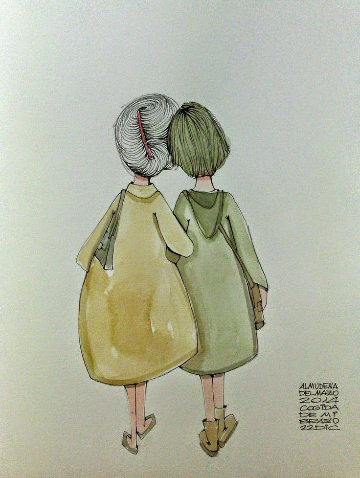 """Cada día un Dibujo : 22 de diciembre de 2014. """"Cogida de mi brazo"""""""