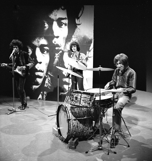 Jimi Hendrix and Mitch Mitchell (drummer) performs for Dutch television show Fenklup in 1967