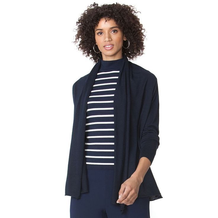 Women's Chaps Solid Open-Front Cardigan, Blue (Navy)