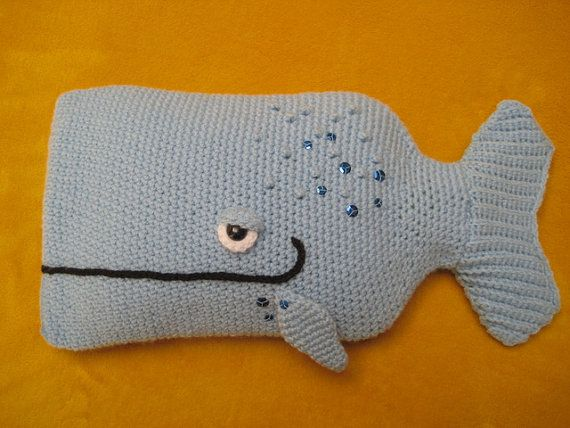 Crochet  PATTERN   Whale Hot Water Bottle Cover by Millionbells, $5.99