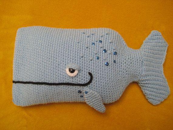 Crochet  PATTERN   Whale Hot Water Bottle Cover by Millionbells, $5.99