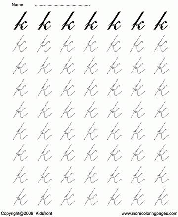 Cursive Letter Dot To Dots K Sheet