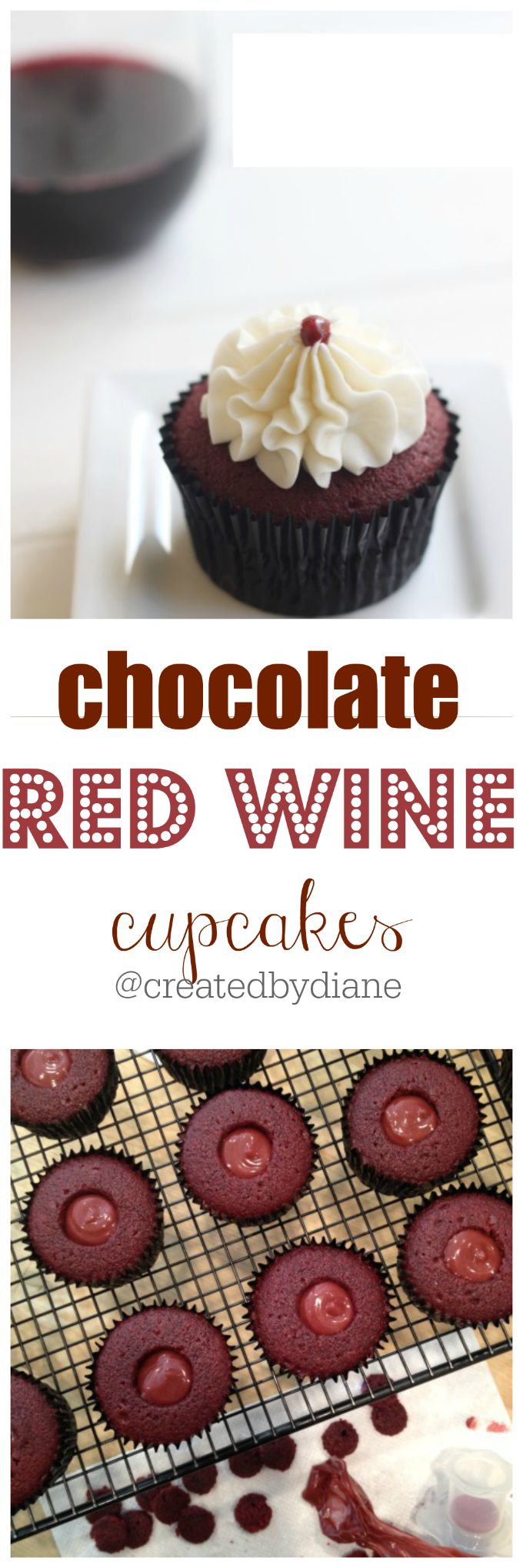 chocolate red wine cupcakes @createdbydiane