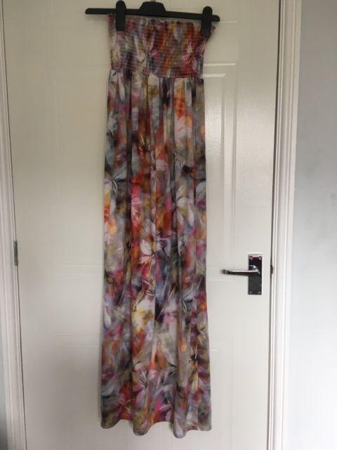 Miss Selfridge Multi Coloured Floral Pattern Maxi Dress Summer Beachwear Size 10 | eBay
